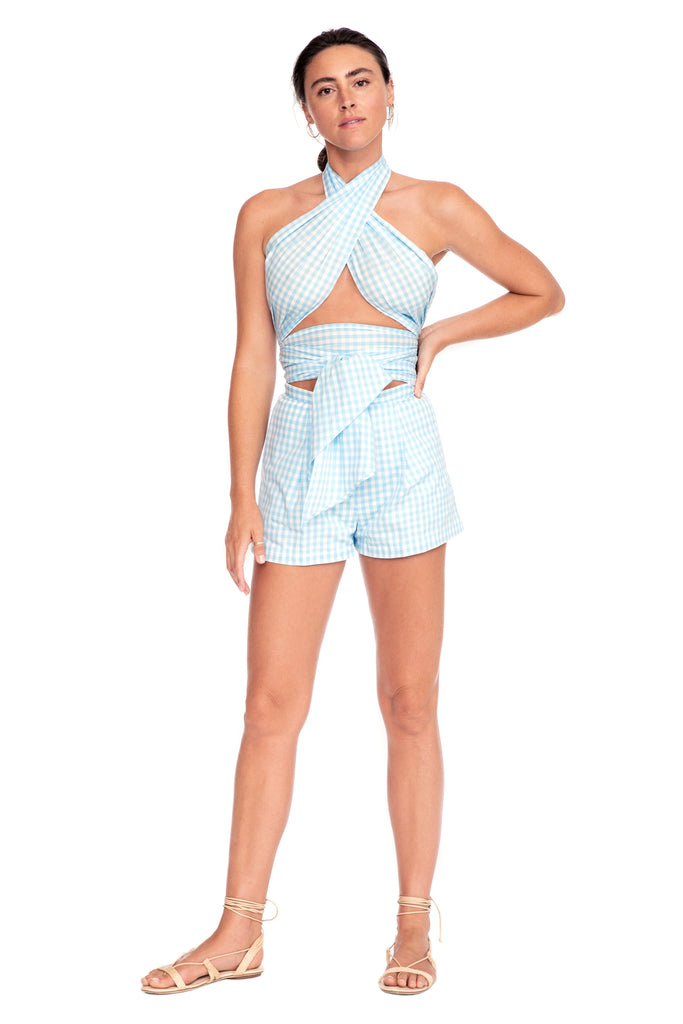 Blue Check Pleated Short