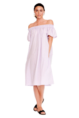 Lavender Check Smocked Dress
