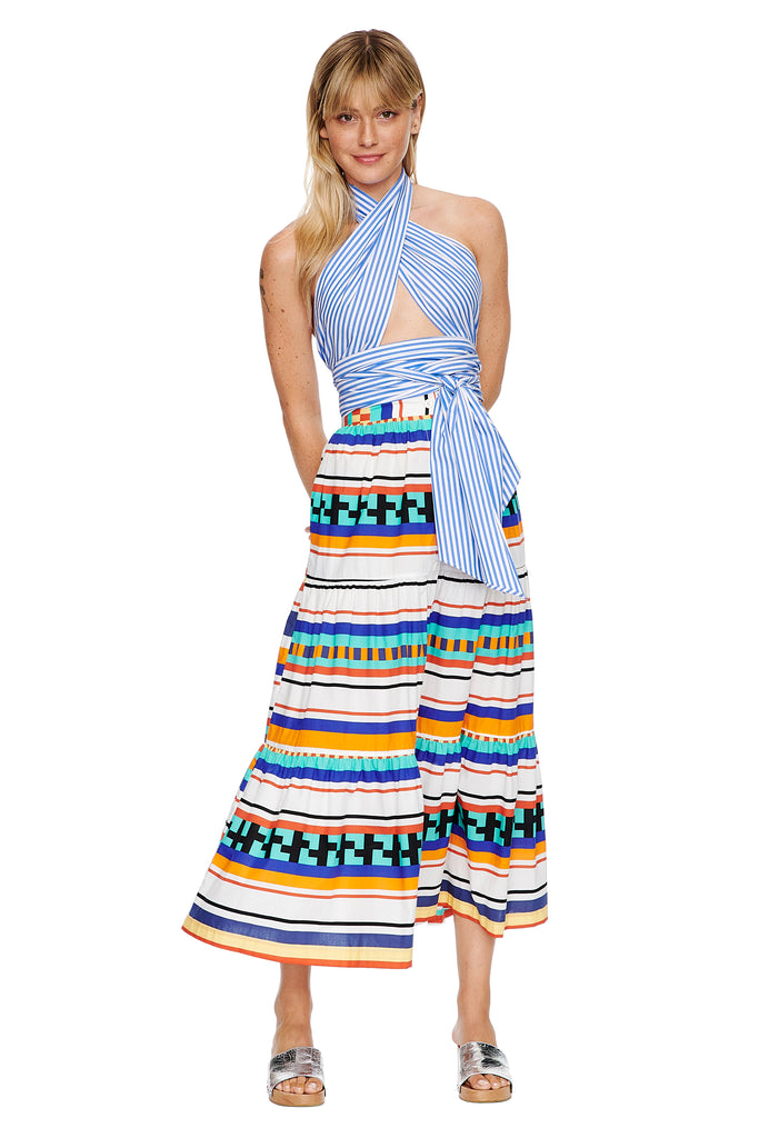 Aztec Button Tiered Skirt