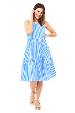 Cobalt Stripe Peasant Dress