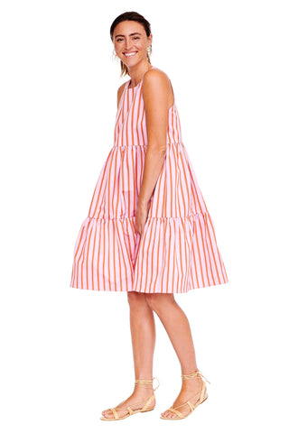 Pink Stripe Sleeveless Peasant Dress