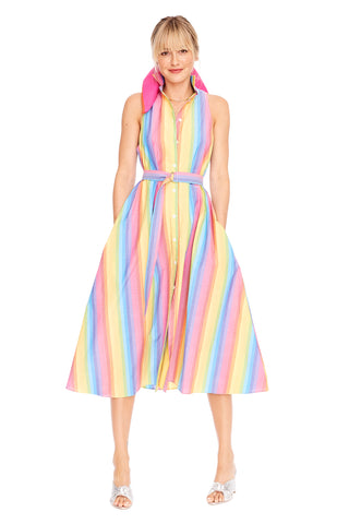 Multi Stripe Sleeveless Shirtdress