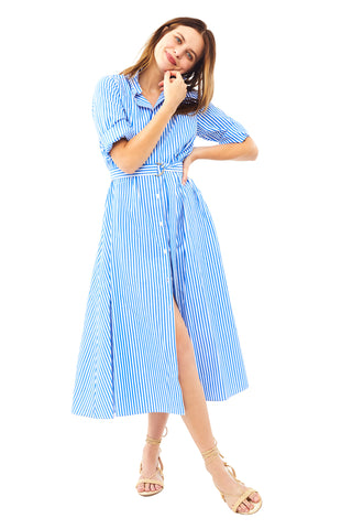 Cobalt Stripe Shirtdress