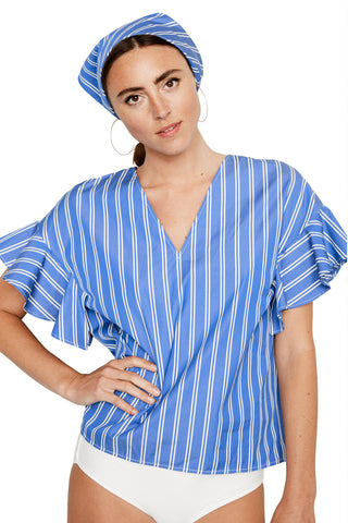 Striped Flutter Sleeve Top 1 left