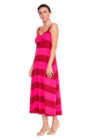 Bold Pink Stripe Knit Tie Front Dress