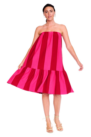 Bold Pink Stripe Knit Skirt Dress