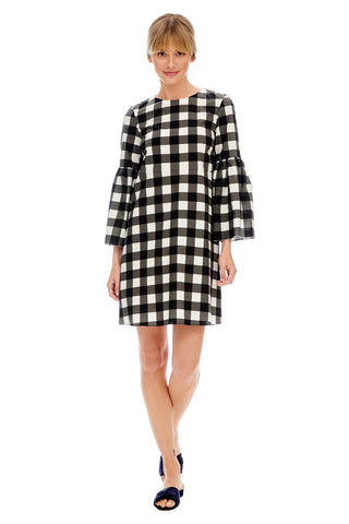 Check Bell Sleeve Dress