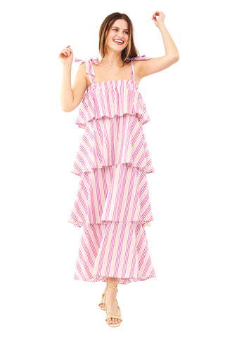 Pink Orange Stripe Tiered Cami Dress