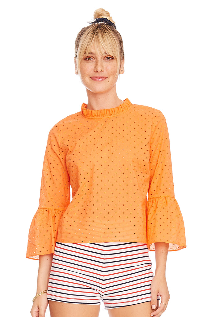Eyelet Ruffle Sleeve Top 1 left