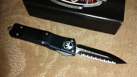 Microtech Combat Troodon  D/E, Satin, Full Serrated, Black Handle, OTF Knife 142-6