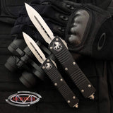Microtech Troodon  D/E, Black Handle, Satin Blade, OTF Knife  138-4