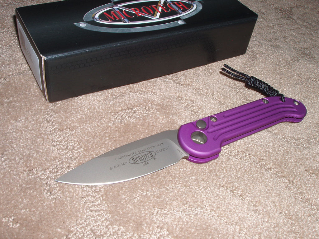 Microtech Knives  LUDT, Violet Handle, Bronze Blade with Bronze Hardware, Automatic Knife   135-13VI