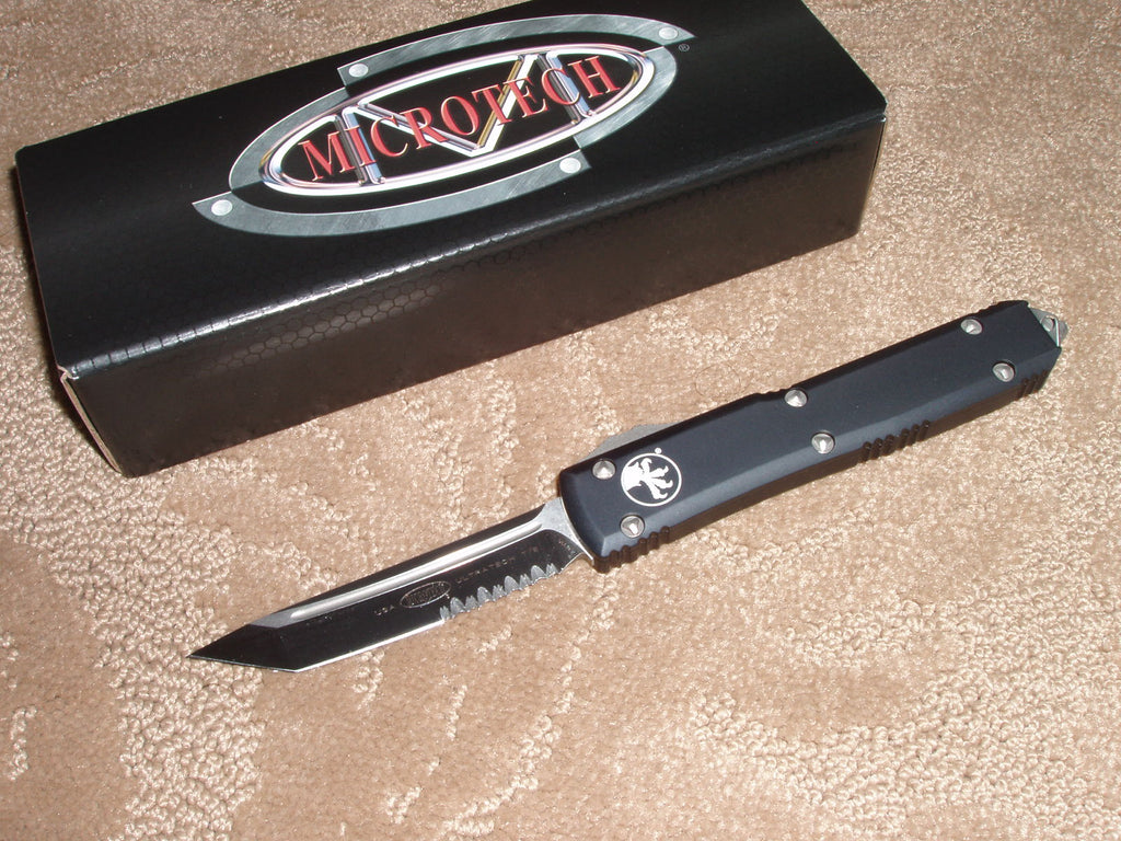 Microtech Ultratech  Tanto, Satin, Part Serrated, Black Handle , OTF Knife   123-5