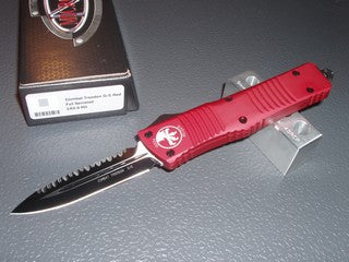Microtech Combat Troodon  D/E, Black, Full Serrated, Red Handle, OTF Knife   142-3RD