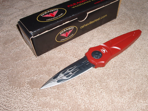 Paragon Knives / Asheville Steel - Warlock Knife,  Red Handle, Black Flame Dagger Blade