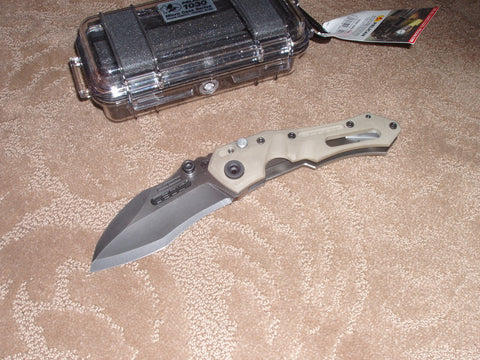 Dwaine Carrillo / Airkat Knives - SC250, SCOUT, Spearpoint, Tan G10/ TI, Custom Knife