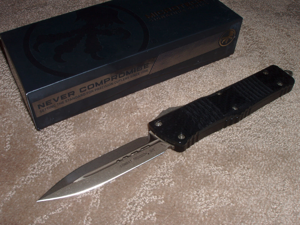 Microtech knives Combat Troodon, D/E, Carbon Fiber with a Bronze blade  142-13CFS