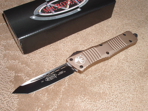 Microtech Combat Troodon T/E, Standard, Black Blade, Tan Handle, OTF Knife 144-1TA