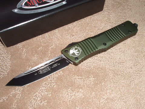 Microtech Combat Troodon  T/E, Black Blade, OD Green Handle, OTF Knife   144-1OD