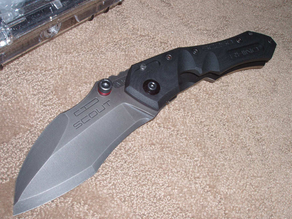 Dwaine Carrillo / Airkat Knives - Scout, SC250, M5, Spearpoint, Black Oxide, G10/ TI Knife