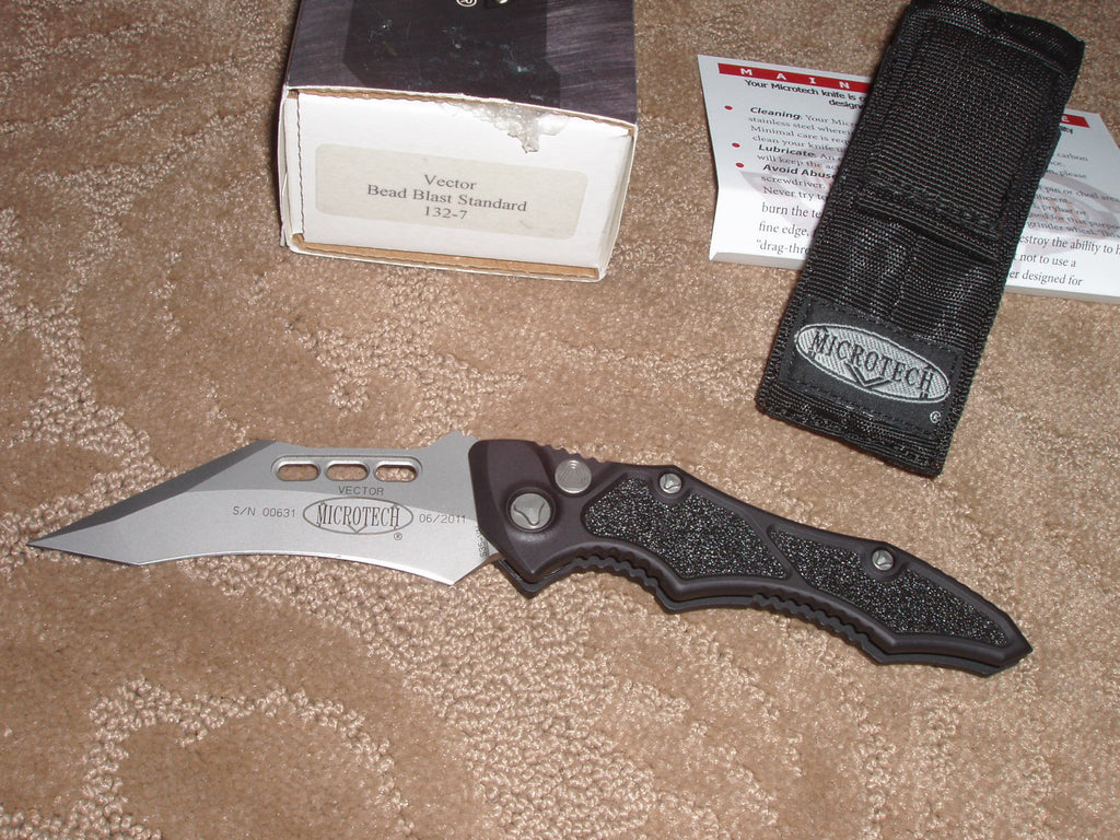 Microtech Knives  Vector, Bead Blast, Standard, Automatic Knife   132-7