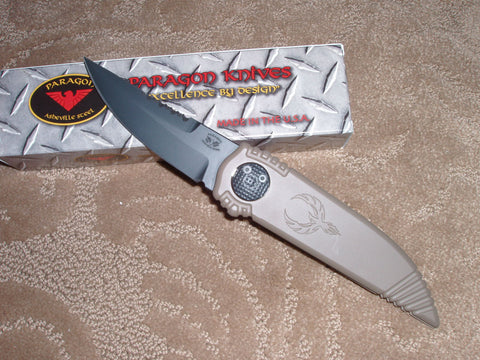 "Paragon Knives / Ashville Steel, Black Blade, FDE Handle, Double Edge Phoenix Knife  ""Bite Wing"""