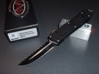 Microtech QD Scarab  DE/S, Satin, Full Serrated, OTF Knife   180-6
