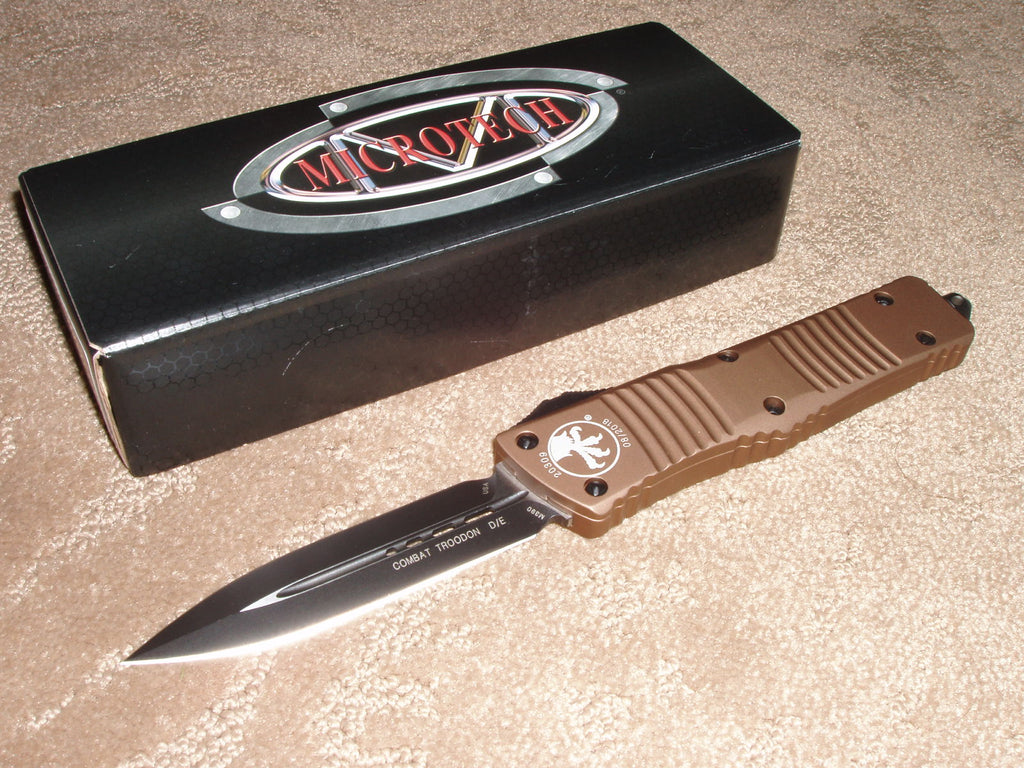 Microtech Combat Troodon  D/E, Black, Standard, Tan Handle, OTF Knife  142-1TA