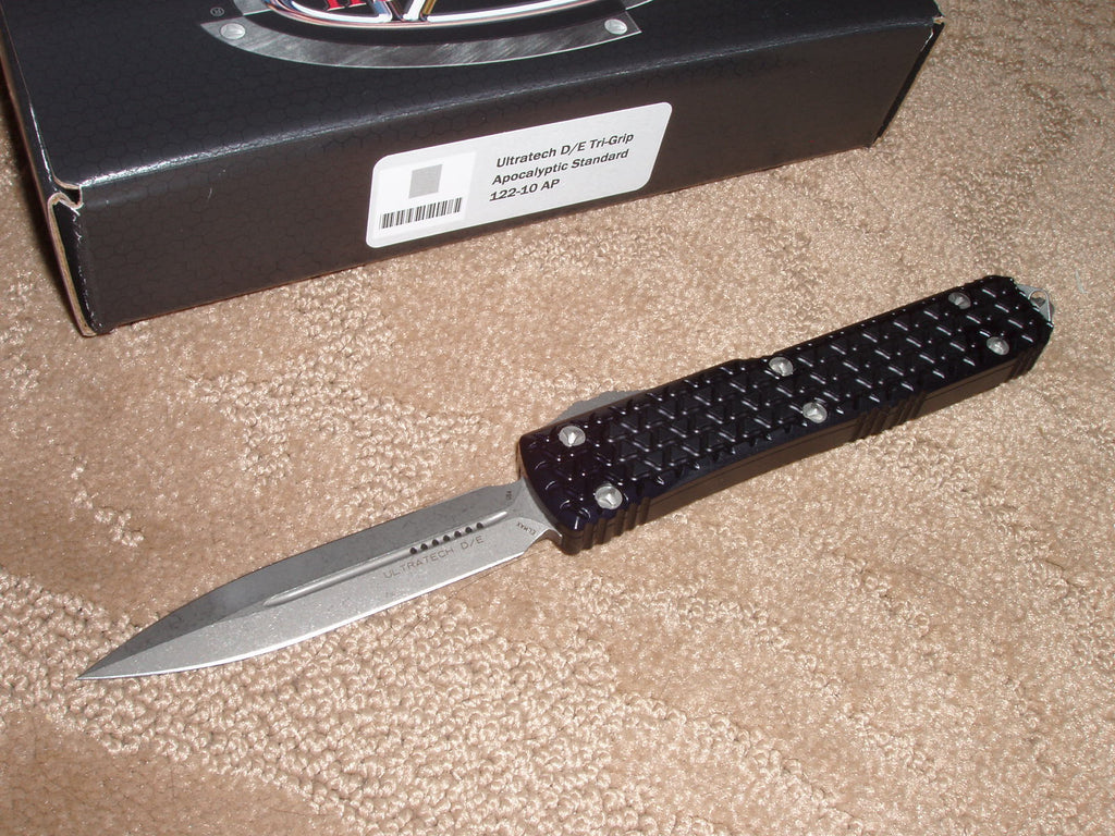 Microtech Ultratech ll  D/E, Standard, Apocalyptic Finish, OTF Knife - Tri-Grip Handle   122-10AP