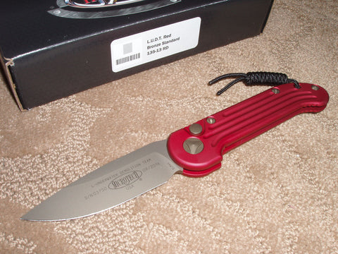 Microtech Knives  LUDT, Red Handle, Bronze Blade with Bronze Hardware, Automatic Knife   135-13RD