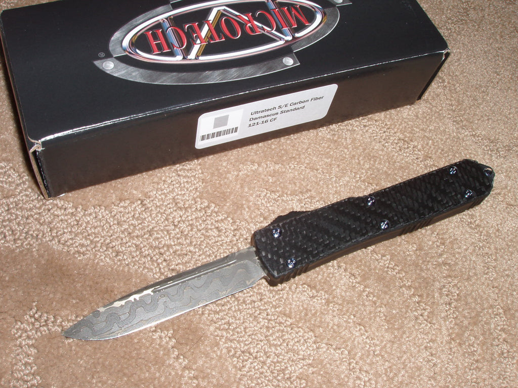 Microtech Ultratech  Single Edge, Damacus Blade, Carbon Fiber Handle, OTF Knife   121-16CF