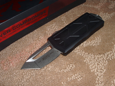 Microtech Exocet, Money Clip, Tanto, Stonewash Finish Blade, Black Handle, OTF Knife 158-10
