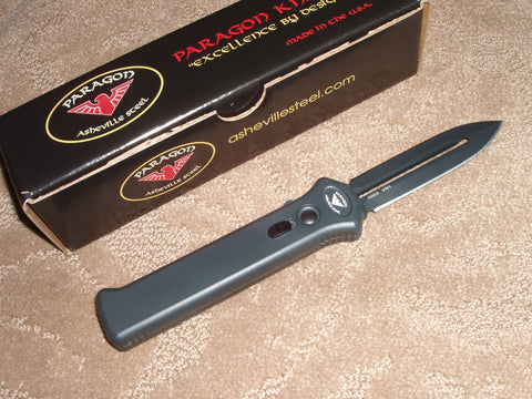 Paragon Knives / Asheville Steel - Para-XD, Black dual edge, Black Handle, OTF Knife PARA-XD-SP-BLK-CB