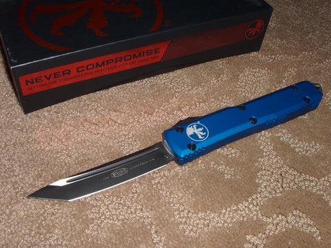 Microtech Knives Ultratech, Tanto Edge, Blue Handle, Black Blade, OTF Knife  123-1BL