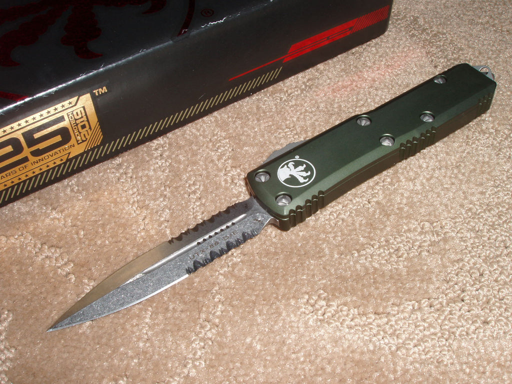 Microtech UTX-85  D/E, Part Serrated, Stonewash, OD Green Handle, OTF Knife   232-11od