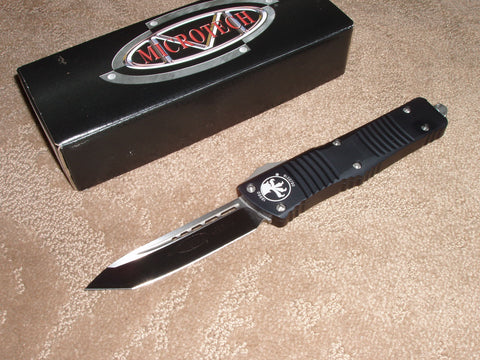 Microtech Combat Troodon  T/E, Satin Blade, Black Handle, OTF Knife   144-4