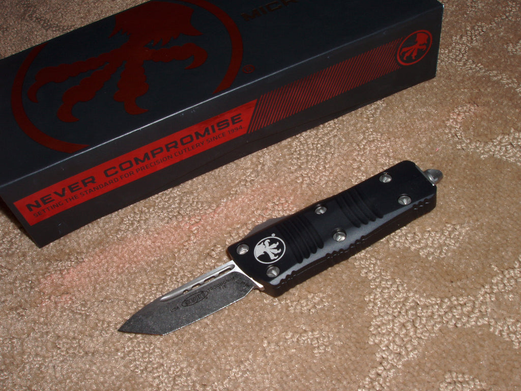 Microtech Mini Troodon, Tanto Edge, Black Handle, Stonewash Blade, OTF Knife   240-10