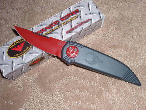 "Paragon Knives / Ashville Steel, Red Blade, Black Handle, Double Edge Phoenix Knife  ""Bite Wing"""