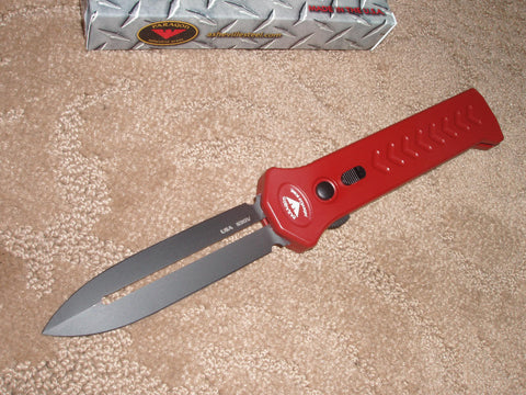 Paragon Knives / Asheville Steel - Para-XD, Black dual edge, Red Handle, OTF Knife   PARA-XD-SP-RD