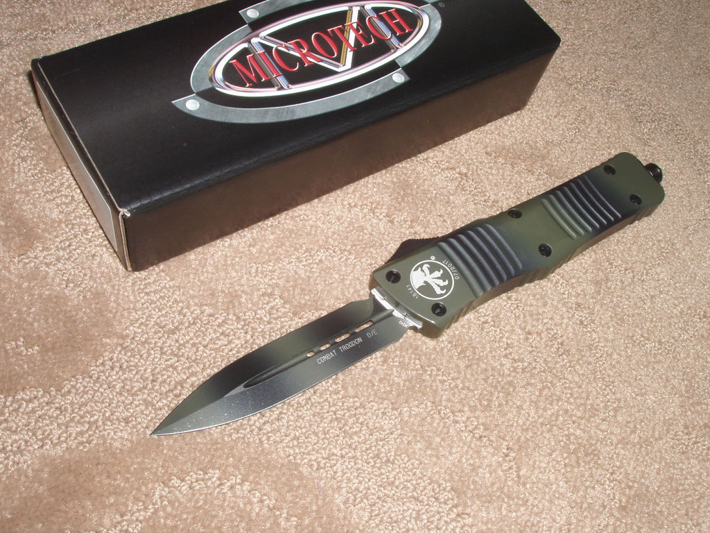Microtech Combat Troodon D/E, Standard, Green Camo, OTF Knife   142-1GC
