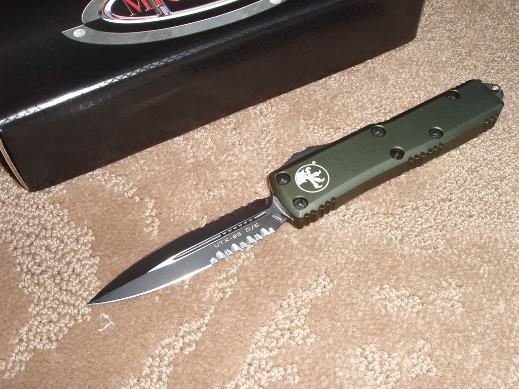 Microtech UTX-85 D/E, Part Serrated, Black blade, OD Green Handle, OTF Knife 232-2od