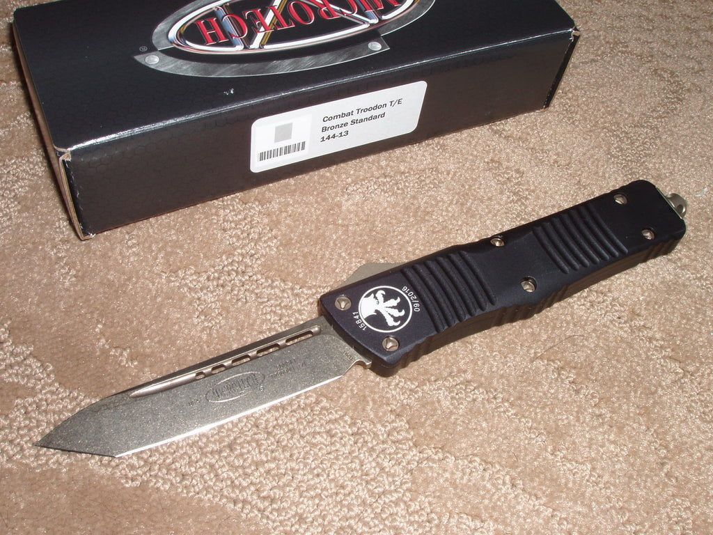 Microtech Combat Troodon  T/E, Black Handle,, Bronze blade, OTF Knife   144-13