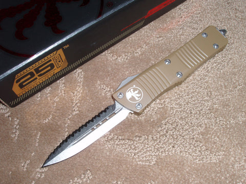 Microtech Troodon  D/E, Stonewash, Full Serrated, Tan Handle, OTF Knife   138-12TA