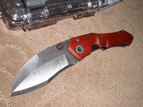 Dwaine Carrillo / Airkat Knives - SC250, Scout, M6, Paduak Handle/ Ti, Black Ozide Blade, (One Off) Custom Knife