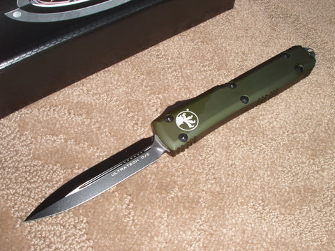 Microtech Ultratech  D/E, OD Green Handle, Black Blade, OTF Knife   122-1OD