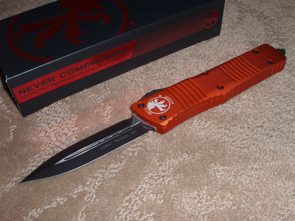 Microtech Combat Troodon, D/E, Orange Handle, Black Blade, OTF Knife   142-1or