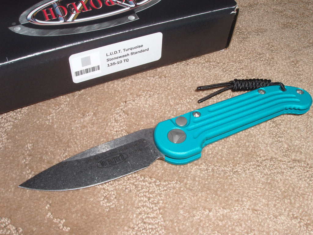 Microtech Knives  LUDT, Turquoise Handle, Stonewash Blade, Automatic Knife  135-10TQ
