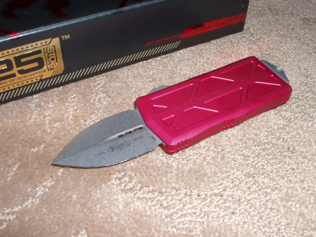 Microtech Exocet, Money Clip,  Apocalyptic Finish, Red Handle, OTF Knife   157-10APRD