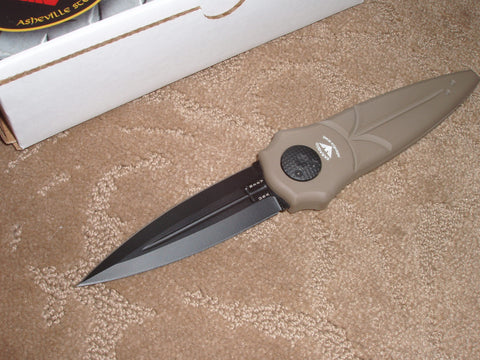 Paragon Knives / Asheville Steel - Warlock Knife, Dark Earth Handle, Black Sword, Dagger Blade