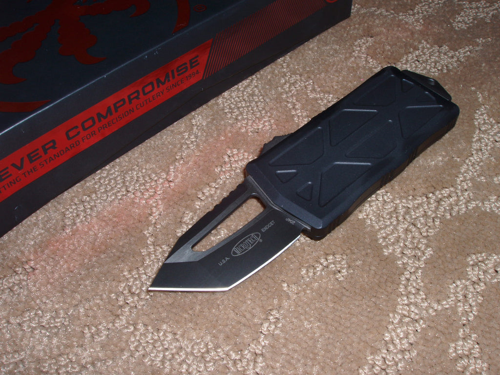 Microtech Exocet, Money Clip, Tanto Edge, Black Tactical -  OTF Knife 158-1T